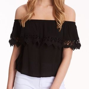 AMBIANCE | Black Crochet Off The Shoulder Crop Top